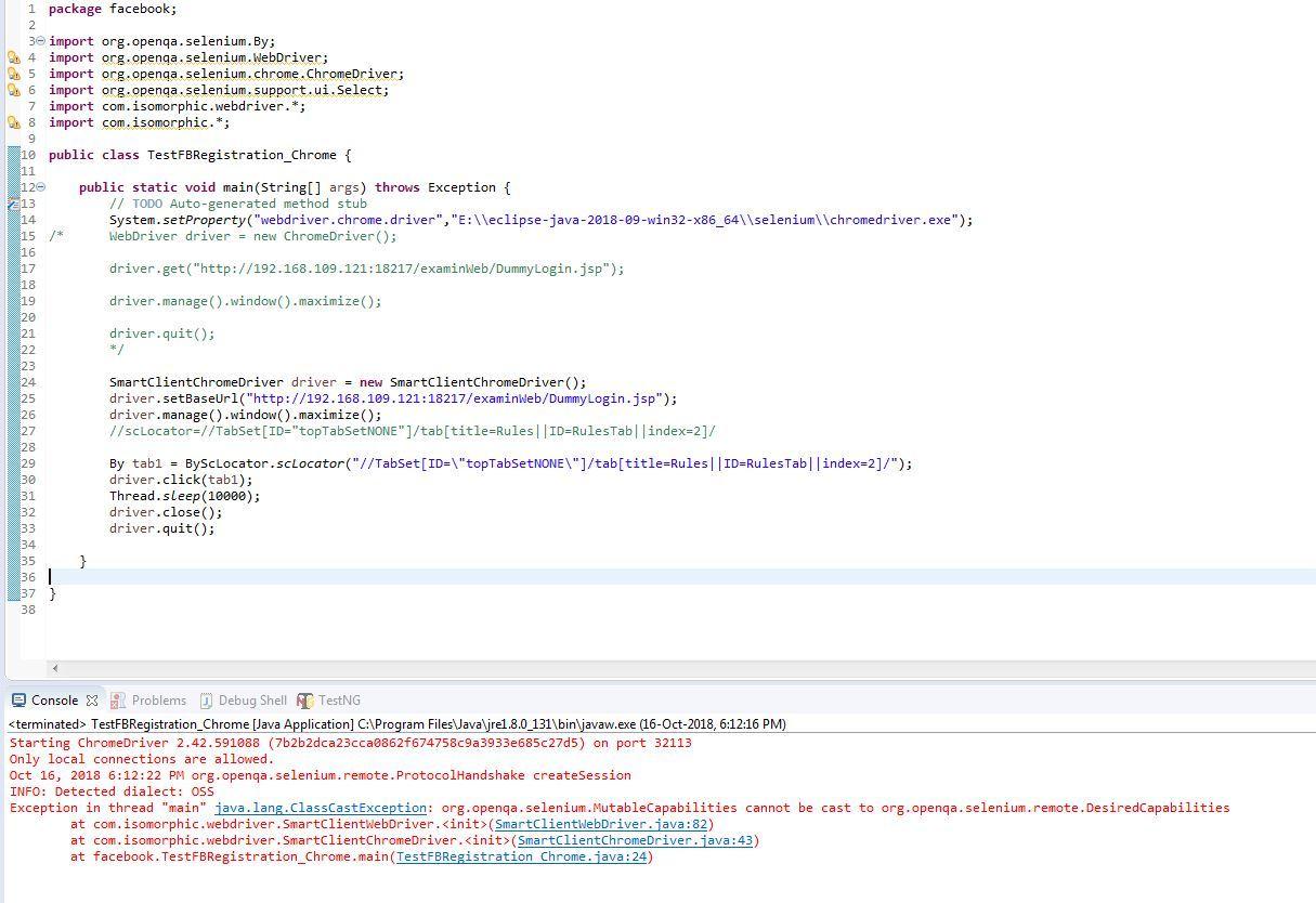 Error while initialising SmartClientChromeDriver in selenium